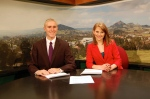 Ed Zuchelli and Olivia Bickel anchoring on Cal Poly Television