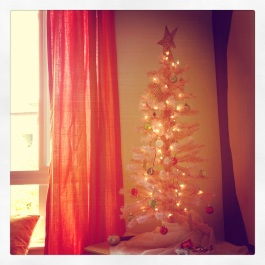 my pink tree. It's not decorated yet, but it still makes me smile.