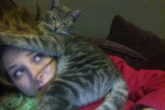 my cat Tedi sitting on my head