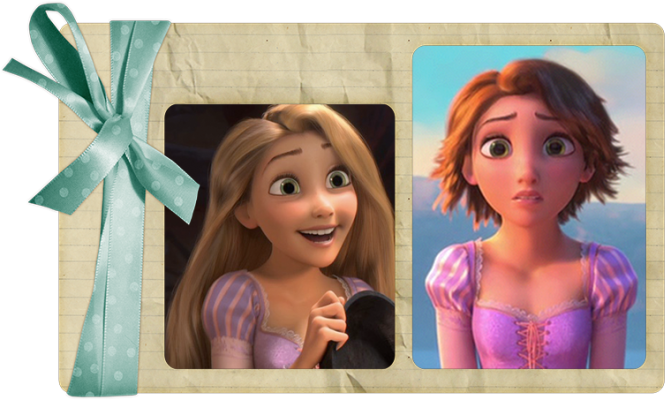 Tangled Rapunzel hair before and after