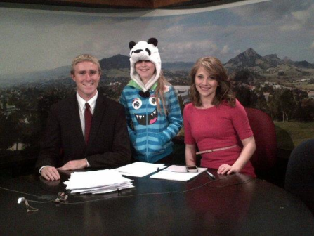 Anchoring Cal Poly Television with Ed Zuchelli and his little sister, Isabel