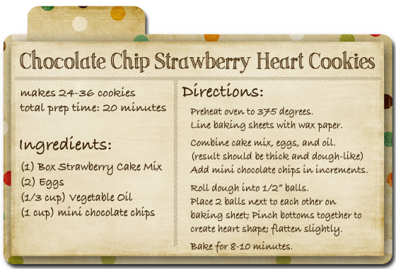 Chocolate Chip Strawberry Heart Cookies Recipe Card