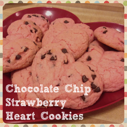 Chocolate Chip Strawberry Heart Cookies