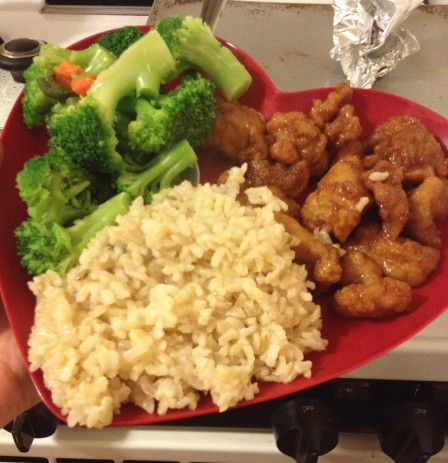 Orange Chicken, Broccoli, and Brown Rice