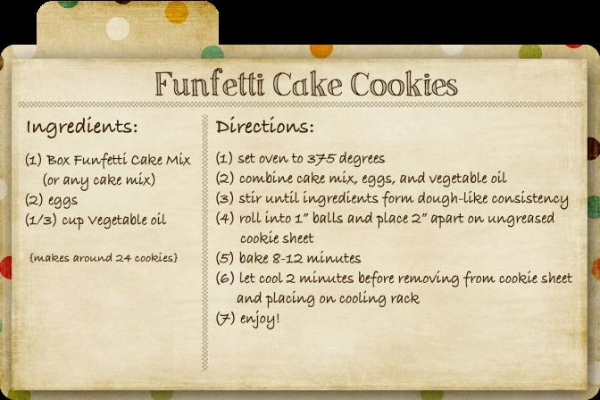 Funfetti Cake Cookies Recipe Card